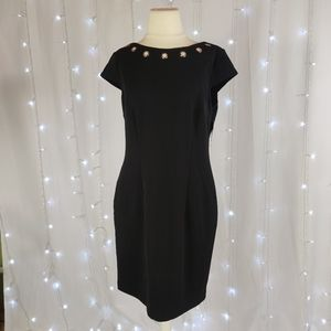 AB Studio Black Textured Sheath Dress